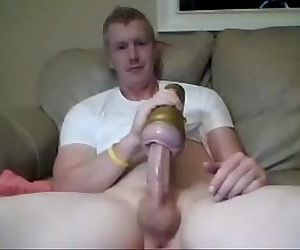 hot boy fucks his fleshlight finger ass and cums on cam