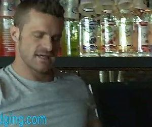 Muscled bartender bound and edged