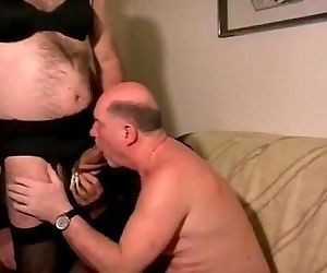 old man with crossdresser. daddy drink piss and cum