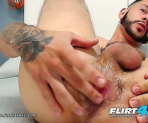 Jack TattooFlirt4FreeBearded Latino Stud Plays w His Tight Ass 10 min 1080p
