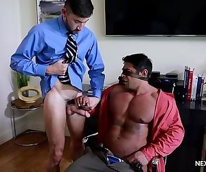 Cock Hungry Boss Barebacked by Interns Big Dick