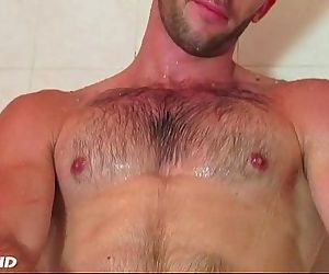 Taking a shower whith esteban a sexy str8 guy serviced by us!